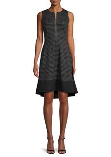 DKNY Textured High-Low A-Line Dress