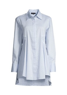 DKNY Textured High-Low Flare Button-Front Shirt