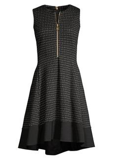 DKNY Textured Knit Zip-Front Dress