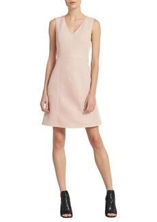 DKNY Textured V-Neck Fit-&-Flare Dress