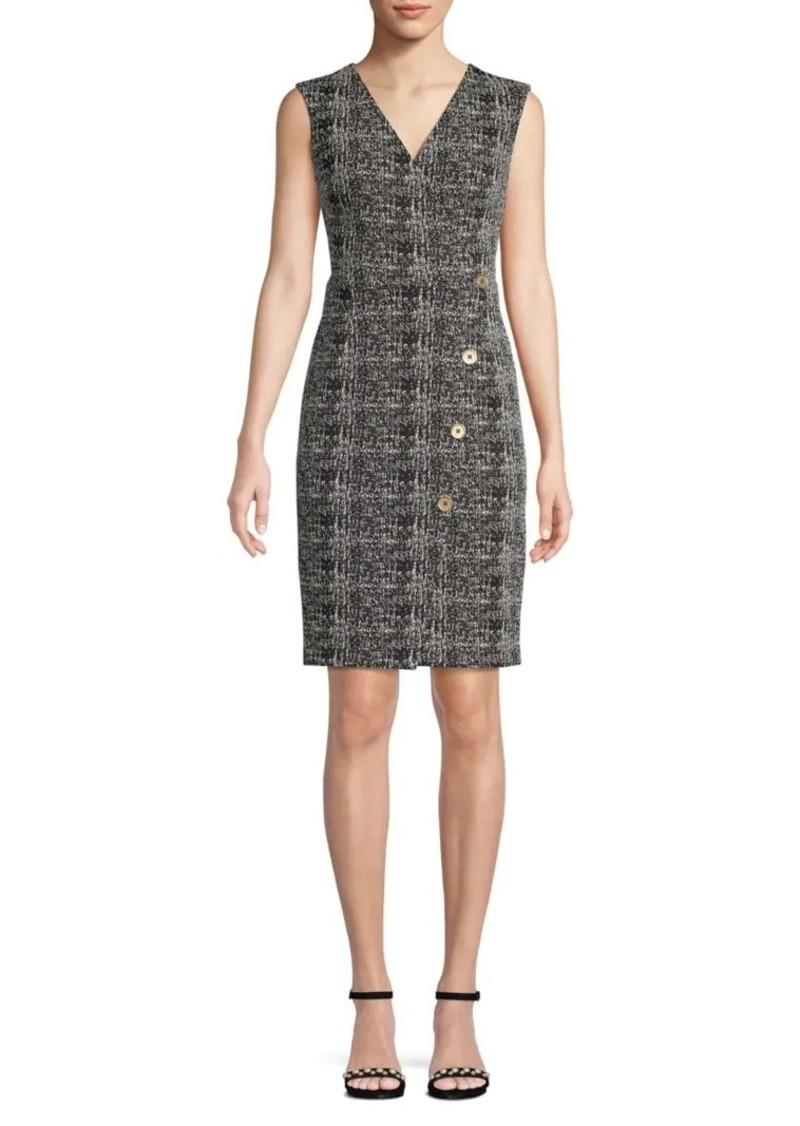 DKNY Textured V-Neck Mini Dress