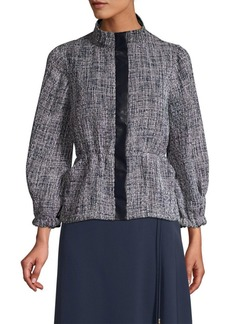 DKNY Three-Quarter Sleeve Textured Peplum Jacket