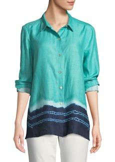 DKNY Tie-Dye Hem Linen Button-Front Blouse