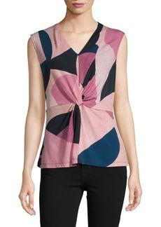 DKNY Tie-Front Colorblock Top