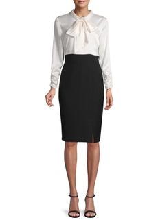 DKNY Tie-Neck Knee-Length Dress