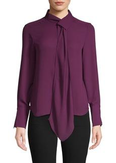 DKNY Tie-Neck Long-Sleeve Shirt