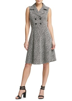 DKNY Tweed Double Breasted Fit-&-Flare Dress