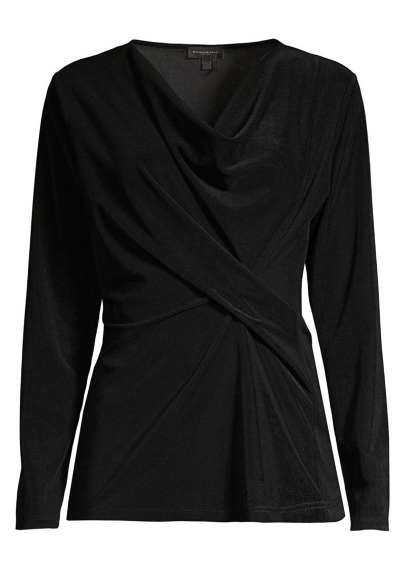 DKNY Twist Front Long Sleeve Top
