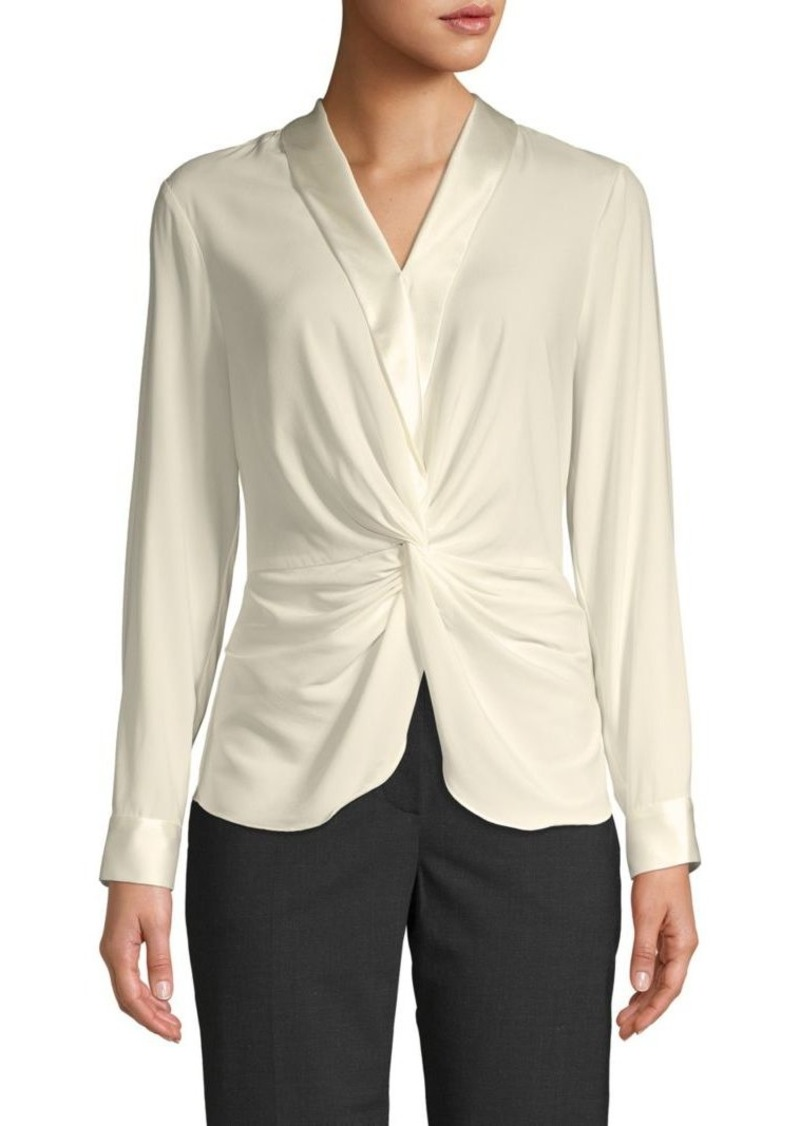 DKNY Twist Front Satin Trim Blouse