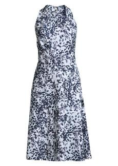 DKNY Twist Neck Dot Fit-&-Flare Dress