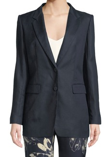 DKNY Two-Button Linen-Cotton Blazer w/ Printed Lining