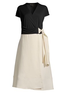DKNY Two-Tone Wrap Dress