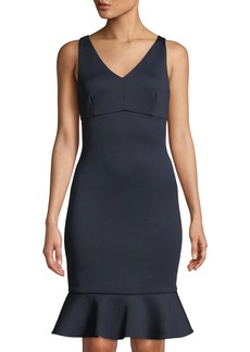DKNY V-Neck Empire-Waist Flounce Dress