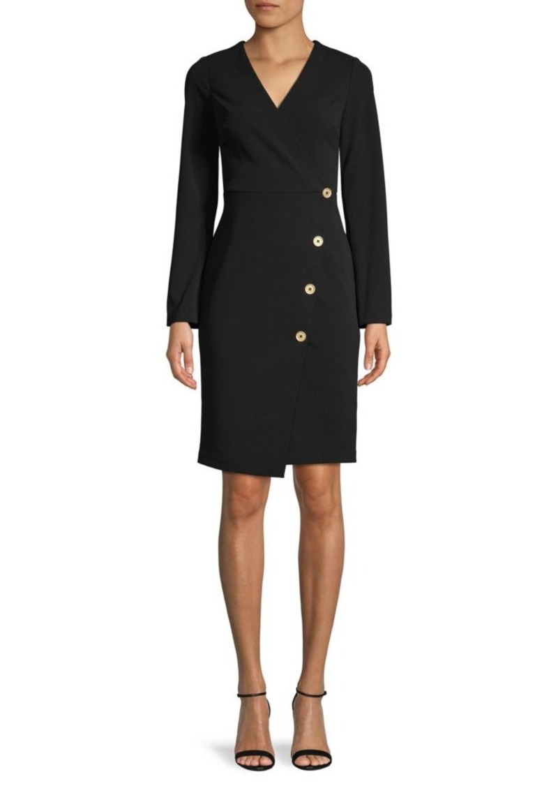 DKNY V-Neck Faux Wrap Dress