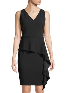 DKNY V-Neck Peplum Midi Dress