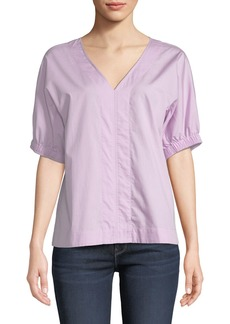 DKNY V-Neck Puff-Sleeve Poplin Top