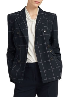 DKNY Window Plaid Linen Blazer