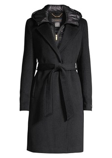 DKNY Wool-Blend Wrap Coat