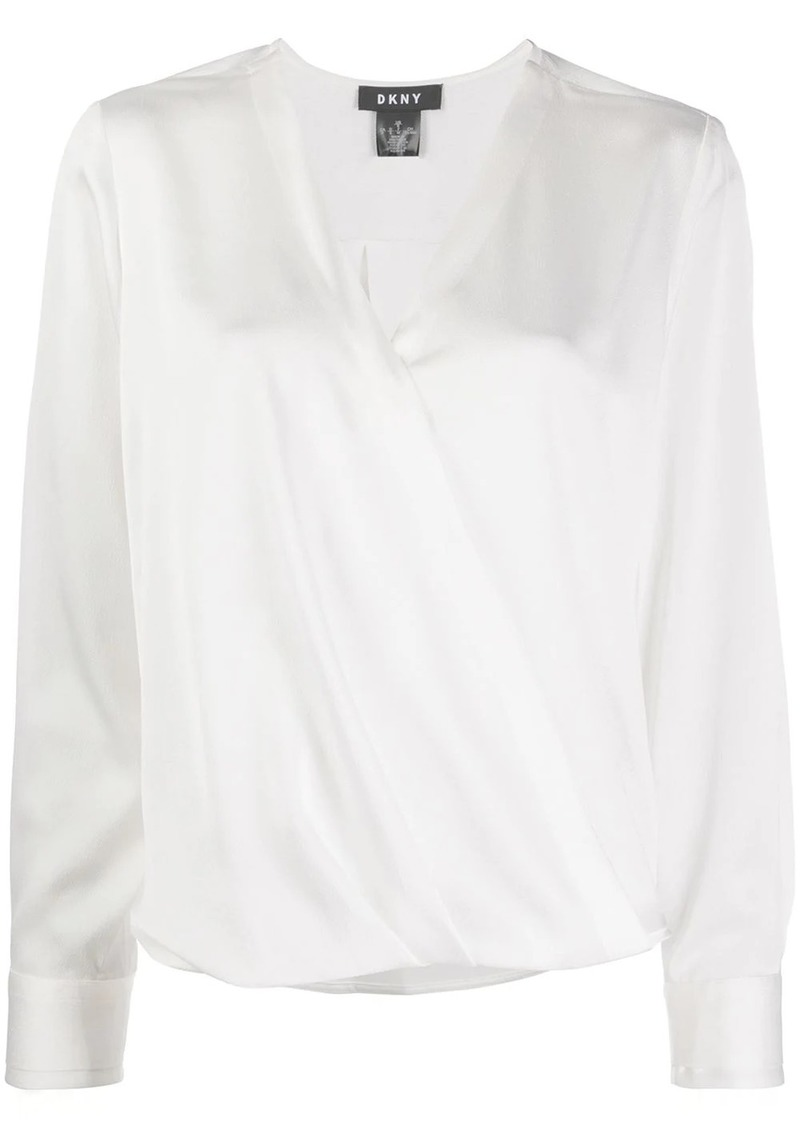 DKNY wrapped front blouse