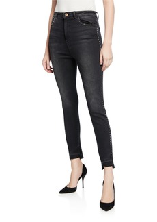 DL 1961 Chrissy Studded High-Rise Ankle Skinny Jeans