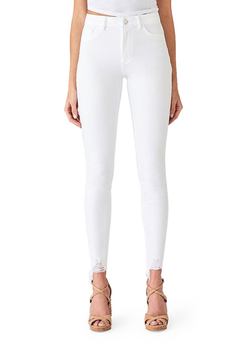 DL 1961 Chrissy Ultra High-Rise Skinny Jeans w/ Shredded Hem