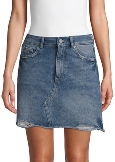 DL 1961 Distressed Denim Skirt