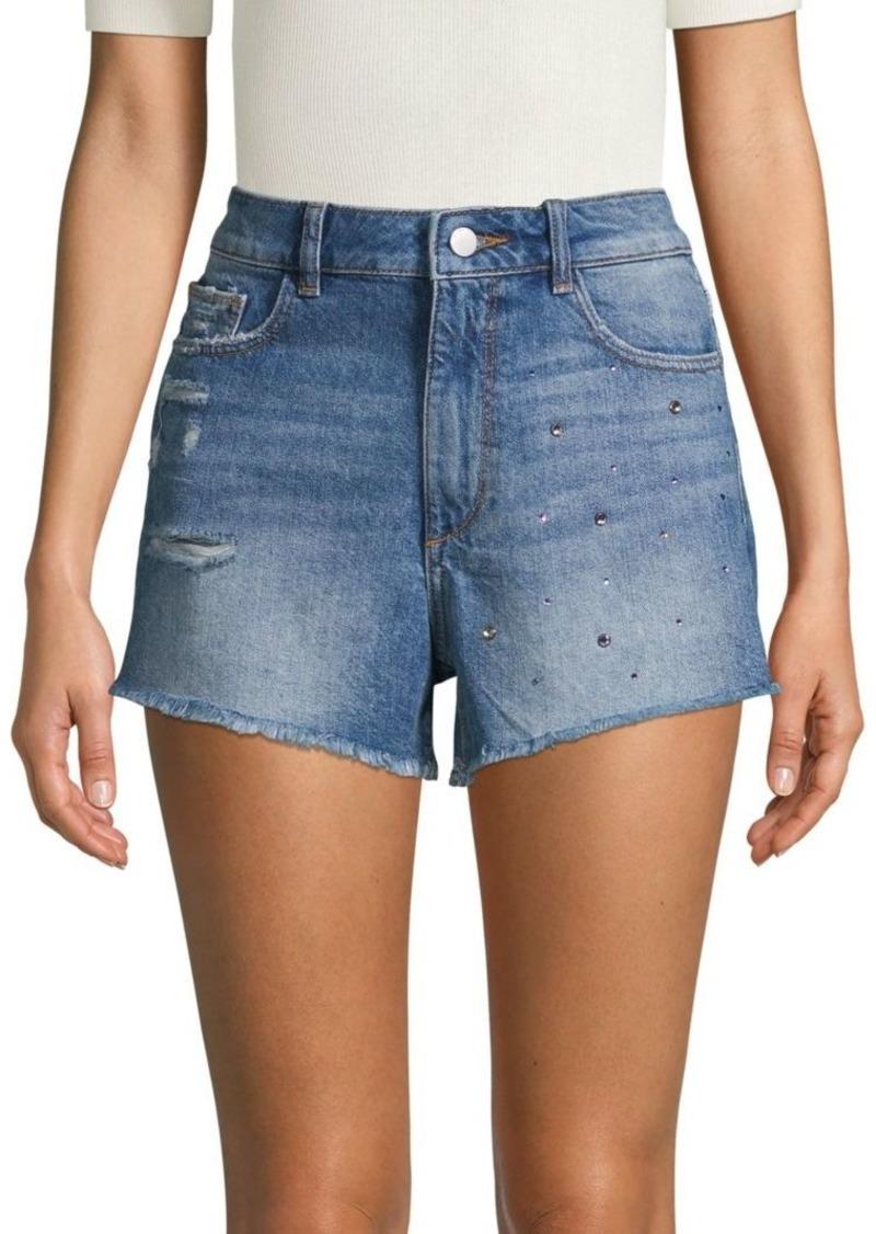 DL 1961 Distressed Embellished Denim Shorts