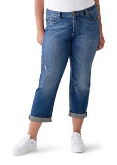 DL 1961 Riley Distressed Straight Leg Boyfriend Jeans (Adams) (Plus Size)