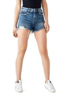 DL 1961 DL1961 Cleo Distressed High-Rise Denim Shorts in Solana