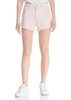 DL 1961 DL1961 Cleo High Rise Denim Shorts in Acid Pink
