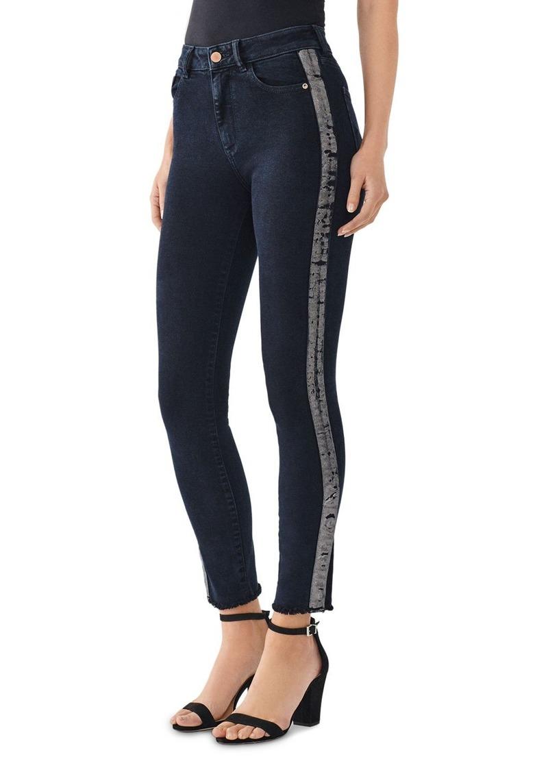 DL 1961 DL1961 Farrow Metallic-Stripe Skinny Ankle Jeans in Roosevelt