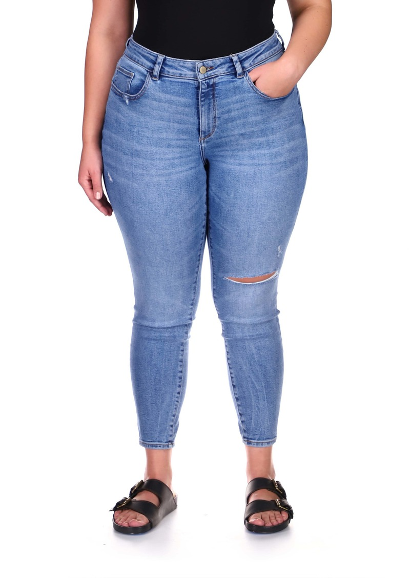 DL 1961 DL1961 Florence Instasculpt Ripped Ankle Skinny Jeans (Marine Busted) (Plus Size)