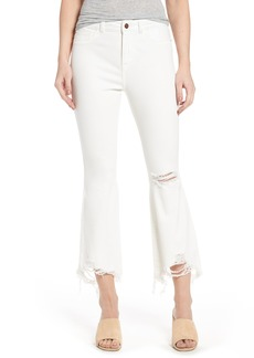 DL 1961 DL1961 Jackie Distressed High Waist Crop Flare Jeans (Eggshell)