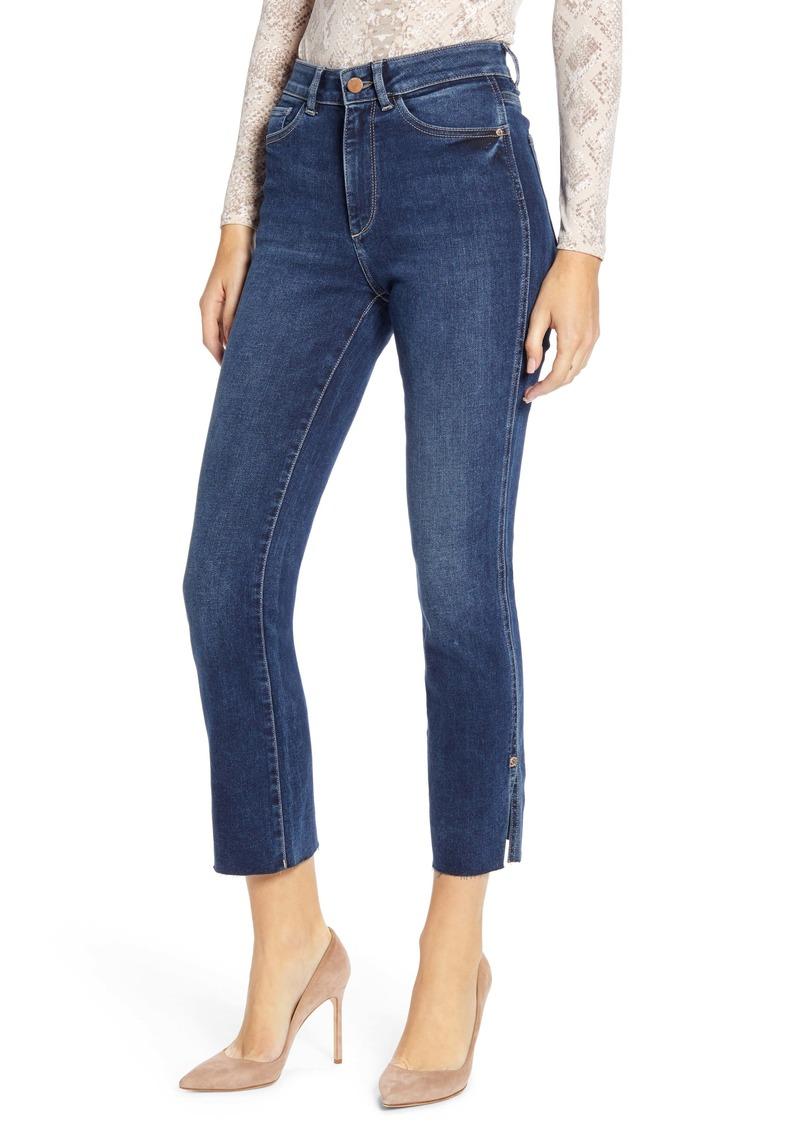 DL 1961 DL1961 Mara High Waist Slit Raw Ankle Straight Leg Jeans (Roswell)