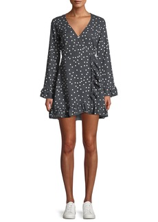 DL 1961 DL1961 Premium Denim Ainsley Long-Sleeve Polka-Dot Mini Wrap Dress