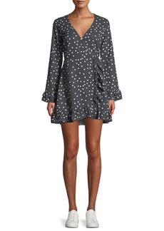 DL 1961 Ainsley Long-Sleeve Polka-Dot Mini Wrap Dress