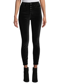 DL 1961 DL1961 Premium Denim Chrissy High-Rise Velvet Skinny Jeans with Button Fly