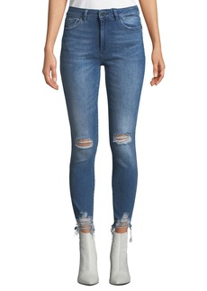 DL 1961 DL1961 Premium Denim Farrow High-Rise Distressed Ankle Skinny Jeans