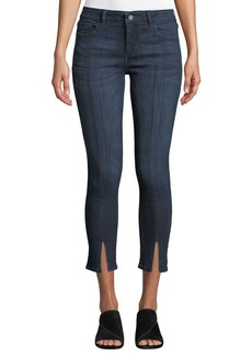 DL 1961 DL1961 Premium Denim Florence Cropped Mid-Rise Skinny Jeans with Split Hem