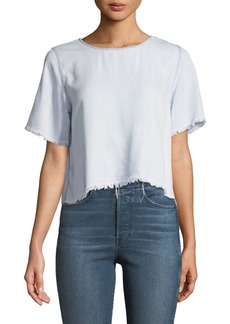 DL 1961 Fort Tilden Raw-Edge Short-Sleeve Top