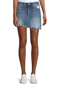 DL 1961 DL1961 Premium Denim Georgia A-Line Asymmetric-Hem Denim Mini Skirt