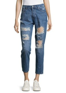 DL 1961 High Rise Shredded Jeans