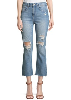 DL 1961 DL1961 Premium Denim Jerry High-Rise Distressed Straight-Leg Cropped Jeans