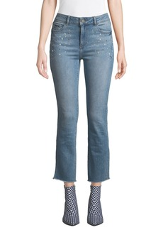 DL 1961 DL1961 Premium Denim Mara Mid-Rise Embellished Ankle Skinny Jeans