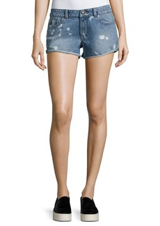 DL 1961 DL1961 Premium Denim Renee Bleached-Spots Cutoff Denim Shorts