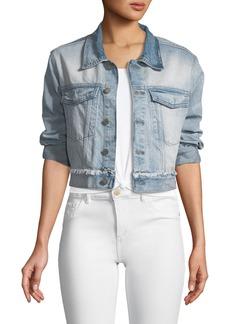 DL 1961 DL1961 Premium Denim Shawn Button-Front Cropped Denim Boyfriend Jacket