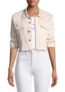 DL 1961 DL1961 Premium Denim Shawn Button-Front Cropped Denim Jacket