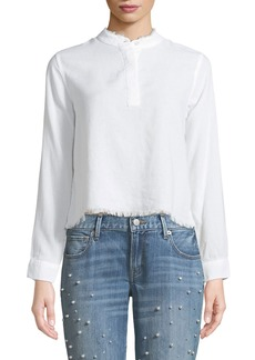 DL 1961 W 3RD & Sullivan Band Collar Long-Sleeve Linen Blend Top with Frayed Edges