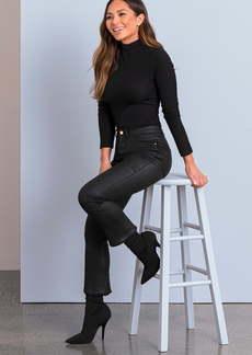 DL 1961 DL1961 x Marianna Hewitt Instasculpt Bridget Coated High Waist Fray Crop Bootcut Jeans (Sonoma)