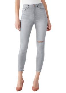 DL 1961 DL1961 x Marianna Hewitt Instasculpt Chrissy Ultra High Waist Fray Hem Ankle Skinny Jeans (Calaveras)